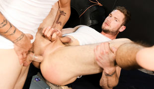 Dustin has invited Ace over to his new 'Play Space' and is eager to have sex with the stunning 6'3' hunk of a stallion