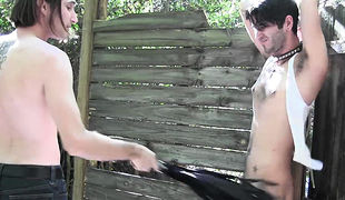 Ryann Ruckers is fixed firmly to a fence, Master DJ is teasing that sexy body of Ryann while this guy is all fixed firmly up with no place to run or h