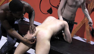 Exactly after slapping all of that hot wax off, Masters Tye and Devon drag the boyish sub Bryce down, twist him over the table, and stick a cold elect