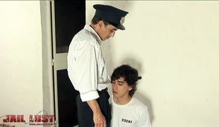 Sweet curly boy attacked by horny gay prison guard