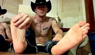 Cowboy buddies Ty and Lee enjoy some foot fun and cock stroking together!