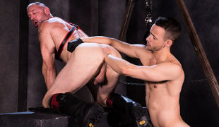 Muscle patriarch D Arclyte grabs Nate Grimes by the neck and shoves his tongue down the hung jock's approachable throat