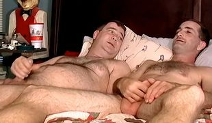Joe gets his cock sucked and unloads for a facial finish after a side by side jerk off