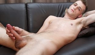 Jamie Ryan arrives for an interview and a solo cock stroking session for the guys