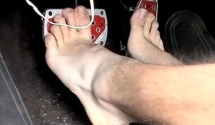 Jordan slides his long socks off and shows us his soles and those suckable toes