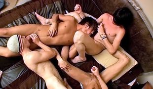Four horny twink boy share a session of foot worship and cock sucking!