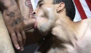 Hairy latin gay sucking in office