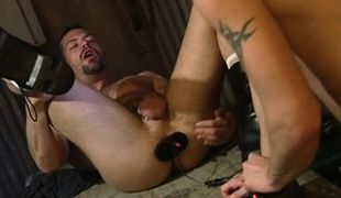 Hairy dad and boy have fun with sextoy