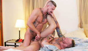 Older, hot, hung studs Dolf Dietrich and Hugh Villain have obsessive fucking action in their marital bed, while Hugh also fantasizes about Dolf's