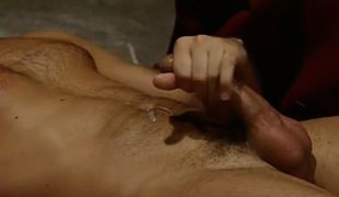 Hairy gay cums after hard anal