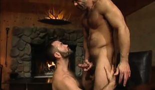 Lusty bear man cums on hairy dilf