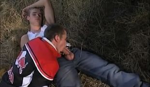 Sexy teen gay sucks cock in granary