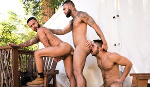 Rikk York has a camping in the woods with Seth Santoro and Rikk York and he can't decide which one to fuck